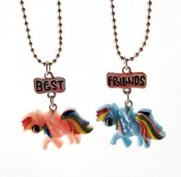 Wholesale hose women - Best Friends BFF Animal Hose Unicorn Pendant Necklace Women Kids Girl Cartoon Resin Necklace Chain Friendship Set for kid 380017