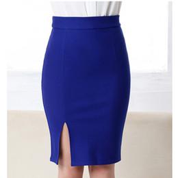 Wholesale Front Pencil Skirt - Fashion Women Office Formal Pencil Skirt Autumn Elegant Slim Front Slit Midi Bodycon Skirts OL Bandage Skirts HO812212