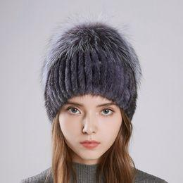 Женская настоящая меховая шапка онлайн-2018 LTGFUR New Women's Hat Knitted Real Mink Hats for Girls Real Fur Winter hats warm Beanies  fur Ball Cap
