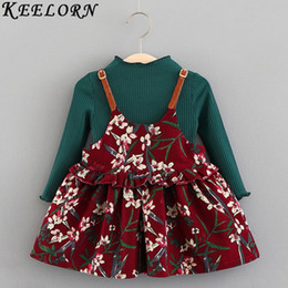 8e223c85a49f Keelorn Baby Girl Dress 2018 Autumn New Baby girls clothes Solid color T- shirt + flower print dress O-neck children clothing