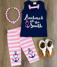 Wholesale Navy Girl Shirts - 2018 summer girls clothing sets baby girl outfits kids tank tops navy blue t shirt + pink striped pants 2 piece set cotton children clothes