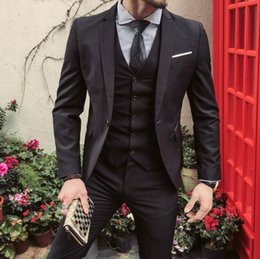 Wholesale mens wedding suit long - Men Suit Jacket+Pant+vest mens Regular Slim Fit Wedding Groom Suits Set Male Casual Black Business Tuxedo Suit Party Masculino