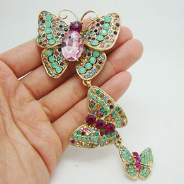 Wholesale Medals Brooch - medal Vintage SNew Arrival Luxurious 3 Butterfly Art Nouveau Pendant Brooch Rhinestone Crystal pin medal