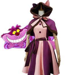 Алиса чудес платье для косплея онлайн-Kids Girls Alice In Wonderland Cheshire Cat Dresses Cosplay Costume Christmas Fancy Dress