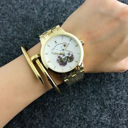 Wholesale fashion flower pins - Fashion TO Bear flower style Brand Women's Girls dial Stainless steel band Quartz wrist Watch T20