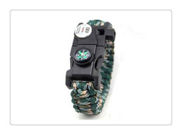 Wholesale Handmade Lights - Mix Color Survival Bracelet Compass SOS LED Signal Light Paracord Adjustable Buckle Handmade Paracord Link Climbing Rope Cord