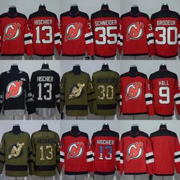 Wholesale Red Halls - 2018 Season New Jersey Devils Jersey 9 Taylor Hall 13 Nico Hischier 30 Martin Brodeur 35 Cory Schneider black green flat Red Hockey Jerseys