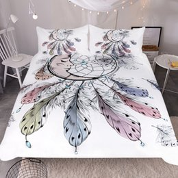 Wholesale beautiful duvet covers - New Moon Dreamcatcher Bedding Set Queen Size Feathers Duvet Cover White Bed Set Beautiful Bedclothes 3pcs