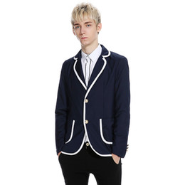 Ropa casual de oficina hombres online-Moda estilo preppy Blazer casual para hombres Chaqueta regular de oficina informal Hombres delgados usa