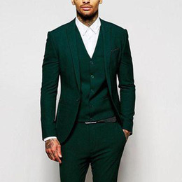 Wholesale Ivory Wedding Suits For Men - 2018 Green Formal Wedding Men Suits for Groomsmen Wear Three Piece Trim Fit Custom Made Groom Tuxedos Evening Party Suit Jacket Pants Vest