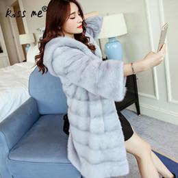 Wholesale Womens White Faux Fur Coat - Mid Long Faux Fur Coats Solid Color White Fur Coat Long Sleeve Fashion Warm Womens Coat Winter Women Free Size Black