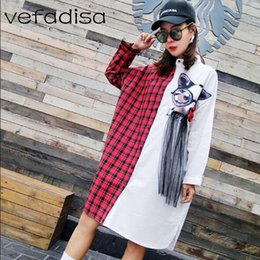 5cac4854c08 Vefadisa Plaid Blouse 2018 New Cartoon Pattern Patchwork Shirt Women Tops  and Blouses Full Sleeve Plus Size Long Shirts AD1013