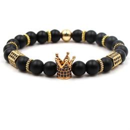 Pietre lucide nere online-Bracciale con ciondolo a corona da uomo Colore argento con oro nero Bracciale con zirconi neri opaco Polacco opaco lucido con perline di pietra naturale