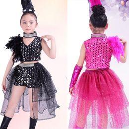 Kızlar Balo Salonu Payetli Dans Üstleri + elbise Çocuklar Latin Caz Hip Hop Modern Giyim Seti Çocuk Dans Kostüm Kıyafetler ile Eldiven supplier jazz dresses nereden caz elbiseleri tedarikçiler