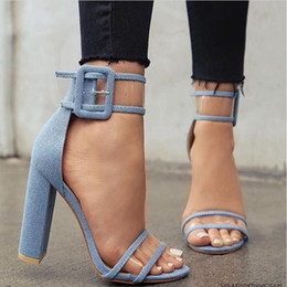 Wholesale Shoes Chunky Heels - Fashion Women Sandals 4 Color Transparent Sexy Sandals Retro High Thick Heels Shoes Women Fashion High Heels
