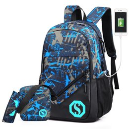 bd88d7b68e8 Boy Girl Unisex 20L Fashion School Bag Zaino Bookbag con Florescent Mark 3  Set con porta di ricarica USB