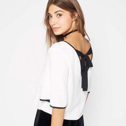 12313181eef Wholesale- Topjini 6XL Casual Women T Shirt 2017 Summer Chiffon Half Sleeve  V-neck Back Bow Tie Tops Fashion Plus Size 5XL XXXXL T-Shirts