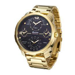 2019 oulm gold Oulm Four Time Zones Hombres Relojes de cuarzo Casual Gold Metal Steel Band Reloj de múltiples zonas horarias Reloj de pulsera deportivo exclusivo para hombres rebajas oulm gold