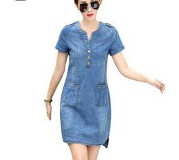 Chegada Nova Verão Mulheres Denim Vestidos Mangas Curtas Soltas A Palavra Vestidos Plus Size V Neck Vestidos Denim Sólidos