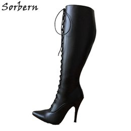 24a4a7a78ed 12Cm Stiletto Heel Lace Up Custom Shalf Wide Calf Size Boots Women Hard  Shaft Knee Hi Pointed Toe Vintage Style Fetish