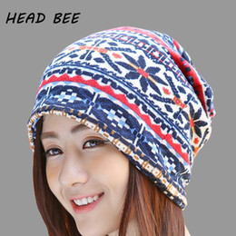 3df854f1 [HEAD BEE] Fashion Beanies Hat Skullies Cotton Adult Print Snow Knitted Cap Lady  Winter Cap Warm for Women