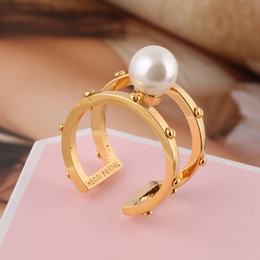 Wholesale Material Combinations - 2018 brass material Opening Ring Mid Finger Knuckle Rings with pearl 0.8cm beads spring combination Rings Geometry Style Jewelry PS6426
