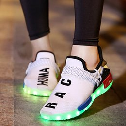Wholesale Coconut Lights - Authentic air Coconut shoe LED charging Luminous Light quality New Men Women children Hot sports sneaker Boost breathable 30~46EUR 171221001