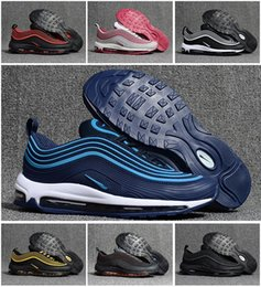 Wholesale Rubber Sole Shoes Materials - New arrival Men's air 97s waterproof KPU Material running shoes high quality air cushion 97 OG Metallic sneaker men air sole sports shoes