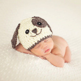 Wholesale white baby beanie - Newborn Photography Props Baby Khawaii Dog Hat Caps Costume White Blue Adjustable Knitted Beanies Infant Photography Accessories Baby Gift