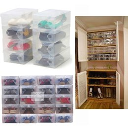 Wholesale clear plastic shoe box wholesale - Wholesale 10Pcs Transparent Makeup Organizer Clear Plastic Shoes Storage Boxes Foldable Shoes Case Holder