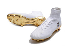Wholesale Ronaldo Soccer Cleats - Wholesale ACE Mercurial Superfly V Real Madrid FG White Gold Soccer Shoes Cristiano Ronaldo CR7 Soccer Cleats Neymar Indoor Shoes
