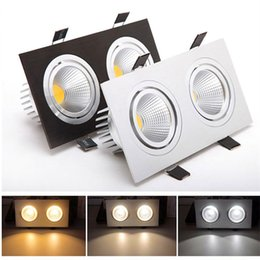 Wholesale Black Led Downlight - Square Double Heads Non-Dimmable Led Downlight 20W Led Ceiling Recessed Lights Silver Black White AC 110-240V