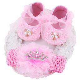 ebb2f28ea373a 2019 chaussures de ballerine rose Ballerina rose chaussons enfants  chaussures bébé fille bandeaux ensemble