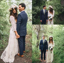 Wholesale long maxi cheap dresses - Vintage Bohemian Long Sleeve Lace Wedding Dresses 2018 Deep V-neck Beach Boho Cheap Maxi Crochet Lace Wedding Dress Plus Size Bridal Gowns