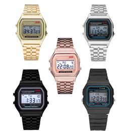 uomini donne orologi d'oro Sconti Luxury F-91W orologi Moda ultra-sottile LED da polso F91W oro rosa-oro argento uomo donna orologi sportivi spedizione gratuita