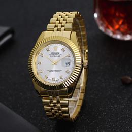 Fecha del reloj del rhinestone online-Marca de lujo superior Relojes de cuarzo Hombres y mujeres Moda Reloj de acero inoxidable Rhinestone Fecha auto Reloj de oro Relógio Orologio maschile