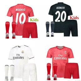 614b7b324 18 19 Real Madrid kids kit Soccer Jersey 2018 2019 youth boy Child BALE  Modric KROOS ISCO ASENSIO BALE Football Jersey shirt uniform + socks