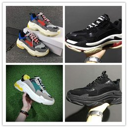 Wholesale Brown High Heels Shoes - 2017New Unveils New Triple S Running Shoe Man Woman Sneaker High Quality Mixed Colors Thick Heel Grandpa Trainer Shoes size35-45
