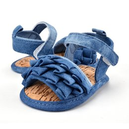 a5d45886bac newborn baby girl jeans Promo Codes - Newborn Baby Jean Look Summer Shoes  Girls Kids Infant
