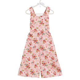 Wholesale Kids Overalls Pants - Everweekend Kids Girls Floral Print Overall Pants Ruffles Candy Pink Blue Color Cute Children Summer Autumn Fashion Clothing
