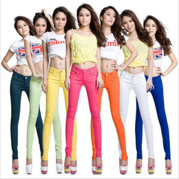 Wholesale Candy Colored Jeans - 19 Colour 2017 Spring Plus Size Women Jeans Women Candy Colored Pants Skinny Pants Long Trousers Free Shipping