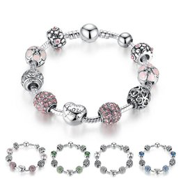 Deutschland Antikes silbernes Charme-Armband-Armband mit Liebe und Blumen-Kristallkugel-Frauen, die Valentinstag-Geschenk freies Verschiffen heiraten Versorgung