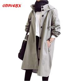 Весна и осень куртка с капюшоном женская средней длины с длинным рукавом свободные шнурок случайные большой размер BF ветер куртка женщин от Поставщики блеск кроссовки для мужчин