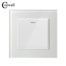 Wholesale Button Wall - COSWALL 1 Gang 1 Way Luxury Crystal Glass Panel Light Switch Push Button Wall Switch Interruptor 16A