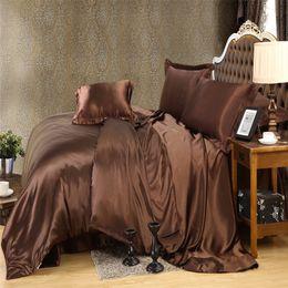 Couleur or brun luxe literie en soie ensemble roi reine taille couleur unie brève style housse de couette ensemble draps literie linge de lit ? partir de fabricateur