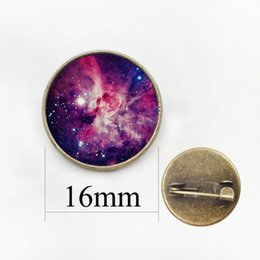 Wholesale Figured Out - Galaxy Cabochon surface universe out of space brooches Independent original design pins Spiral creative nebula badge