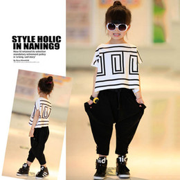 c3f14d5cd27 Baby Girl Clothes Sets Big Girls Summer Outfits Bat Sleeve Loose T-shirt  Tops+ Black Harem Pants Children Fashion Girls Suits