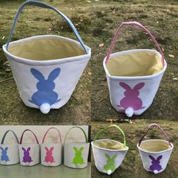 Wholesale Egg Baskets - INS Burlap Easter Bunny Baskets DIY Rabbit Bags Bunny Storage Jute Rabbit Ears Basket Easter Gifts Easter Eggs Storage Bag