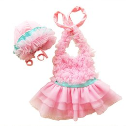 Wholesale Korean Swimsuits - 2018 children's swimsuit infant Korean skirt - style one-piece swimsuit girls cute f pink spandex small and medium - sized