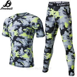 aeb1d88c99 Camouflage Compression Set Sports T-shirt +Tight Pants Running Leggings Men  Sport Suits Kits 2017 GYM Clothing Fitness Men